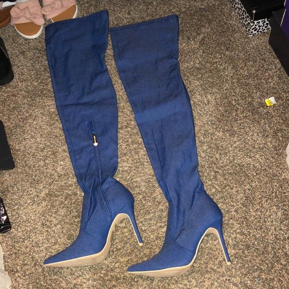 Cape Robbin Shoes - Denim Knee high boots sz7